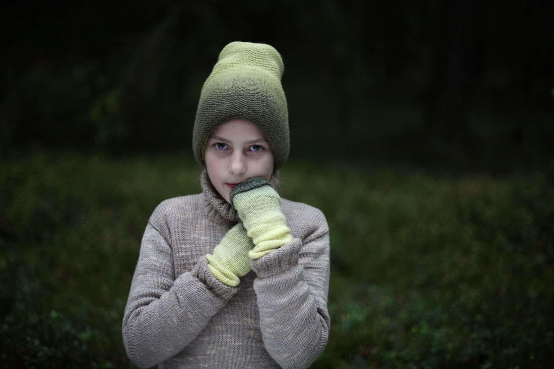 handmade textile hat, wrist warmers